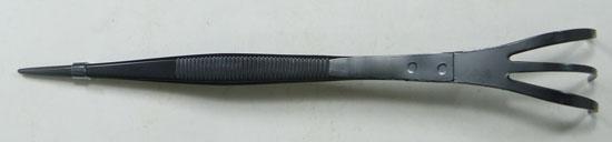 盆栽 ステンレス 熊手付きピンセット 210mm 直 No.664