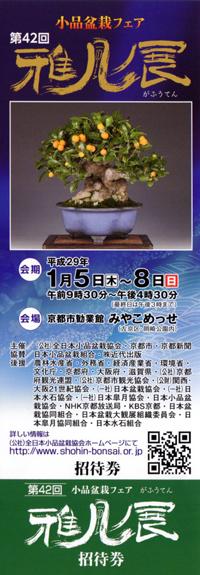 第42回小品盆栽フェア 雅風展チケット 2017年(平成29年)
